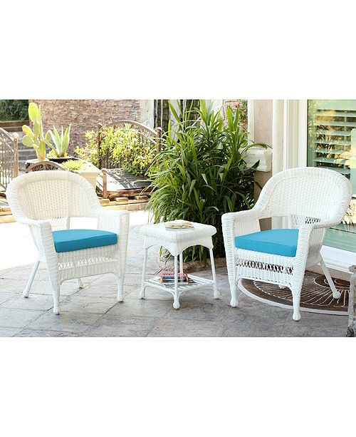 Jeco Wicker Chair and End Table Set with Chair Cushion