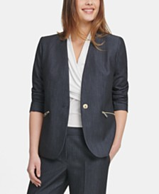 DKNY Petite Collarless Denim One-Button Jacket