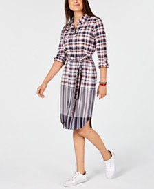 Tommy Hilfiger Plaid Belted Shirtdress, Created for Macy's