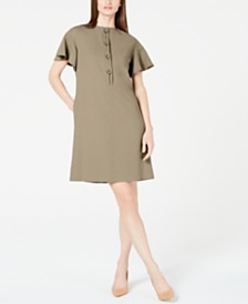 Elie Tahari Flutter-Sleeve Shift Dress