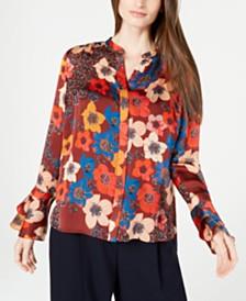 Elie Tahari Safiya Silk Floral-Print Blouse