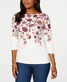 Karen Scott Petite Printed 3/4-Sleeve Top, Created for Macy's