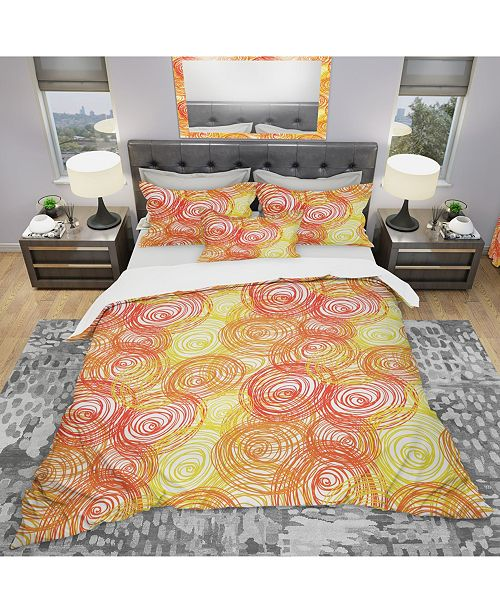 Design Art Designart 'Round Shapes' Modern and Contemporary Duvet Cover Set - Twin