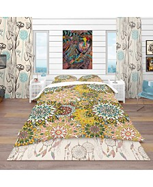 Designart 'Mandala Pattern For Printing On Fabric Or Paper' Bohemian and Eclectic Duvet Cover Set - King