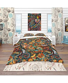 Designart 'Paisley Floral Pattern' Bohemian and Eclectic Duvet Cover Set - Twin