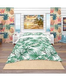 Designart 'Bright Green Tropical Leaves' Tropical Duvet Cover Set - Twin