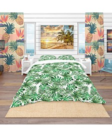 Designart 'Leaves and Brunches Of Tropical Plants and Trees' Tropical Duvet Cover Set - King