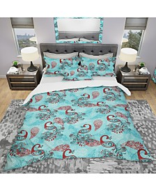 Designart 'Winter Pattern With Peacocks and Snowflakes' Modern and Contemporary Duvet Cover Set - King