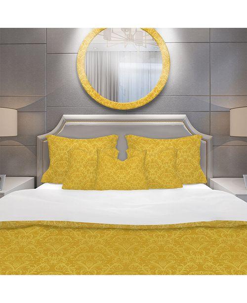 Design Art Designart 'Luxury Golden Floral' Glam Duvet Cover Set - King