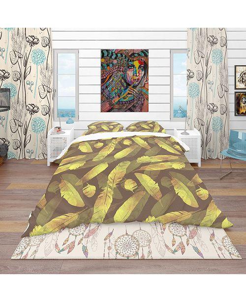 Design Art Designart 'Bird Feathers Pattern' Southwestern Duvet Cover Set - Queen