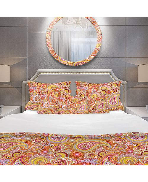 Design Art Designart 'Pattern Based on Traditional Asian Elements ' Mid-Century Modern Duvet Cover Set - King