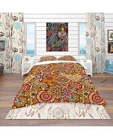 Designart 'Pattern Tile With Mandalas' Bohemian and Eclectic Duvet Cover Set - Queen