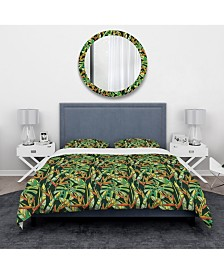 Designart 'Colorful Tropical Pattern With Heliconia Flowers' Tropical Duvet Cover Set - Twin