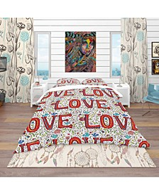 Designart 'Color Love Pattern' Modern and Contemporary Duvet Cover Set - Queen