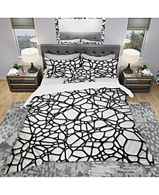 Designart 'Abstract Mosaic Pattern' Modern and Contemporary Duvet Cover Set - King