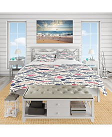 Designart 'Cute Fishes With Doodles' Nautical and Coastal Duvet Cover Set - Queen