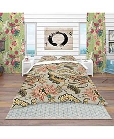 Designart 'Vintage Indian Floral Pattern' Tropical Duvet Cover Set - Queen
