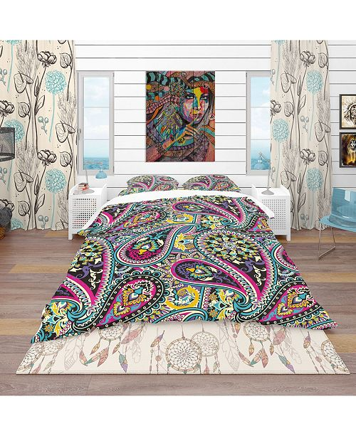 Design Art Designart 'Pattern Based On Traditional Asian Elements Paisley' Vintage Duvet Cover Set - Twin