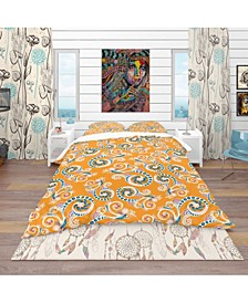 Designart 'Ornamental Floral Pattern With Flowers' Bohemian and Eclectic Duvet Cover Set - Queen