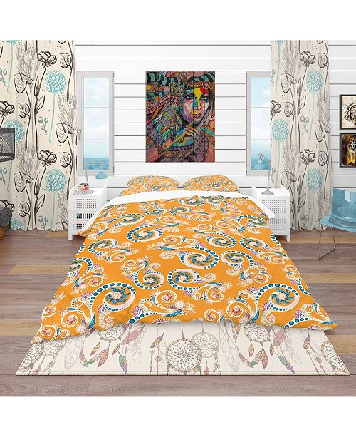 Design Art Designart 'Ornamental Floral Pattern With Flowers' Bohemian and Eclectic Duvet Cover Set - Queen