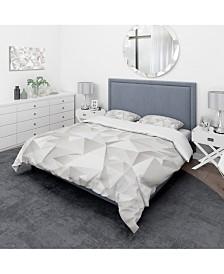 Designart 'White Crumpled Abstract' Scandinavian Duvet Cover Set - Queen