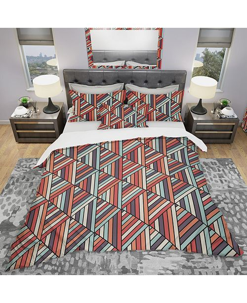 Design Art Designart 'Geometric Pattern In Op Art Design' Modern Duvet Cover Set - Queen