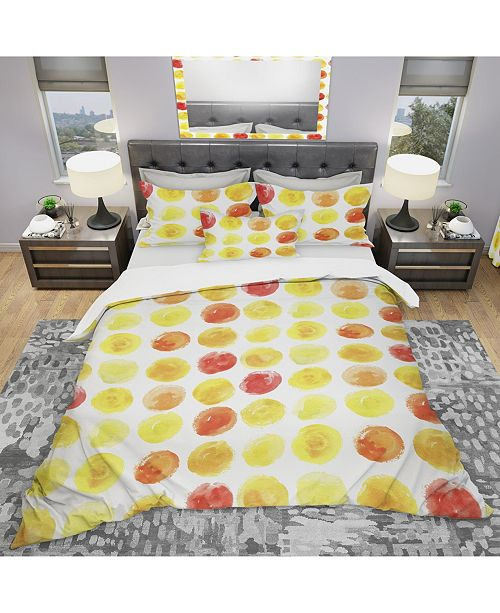 Design Art Designart 'Pattern With Yellow Watercolor Spots' Modern and Contemporary Duvet Cover Set - Queen