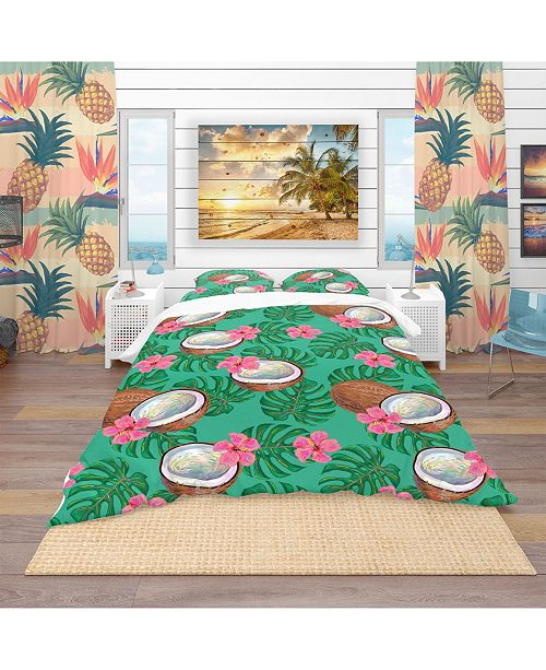 Design Art Designart 'Pattern With Coconuts and Flowers' Tropical Duvet Cover Set - Queen