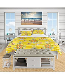 Designart 'Yellow Anchor Pattern' Nautical and Coastal Duvet Cover Set - Twin
