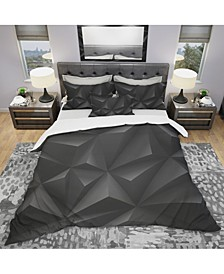 Designart 'Deep Black Geometric Crumpled' Modern Duvet Cover Set - Queen