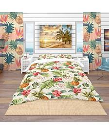 Designart 'Jungle Pineapple Red Flower Pattern' Tropical Duvet Cover Set - Twin