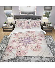 Designart 'Full Bloom Fractal Flower In Pink' Modern and Contemporary Duvet Cover Set - King