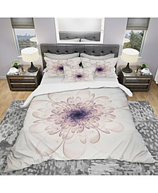 Designart 'Perfect Glowing Fractal Flower In Purple' Modern and Contemporary Duvet Cover Set - Queen