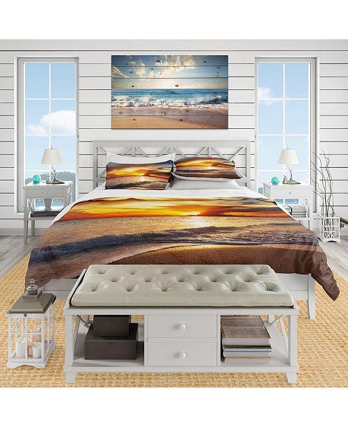 Design Art Designart 'Yellow Sunset Through Dark Clouds' Beach Duvet Cover Set - King