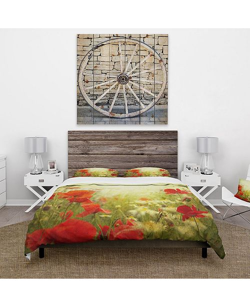 Design Art Designart 'Grunge Background With Red Poppies' Country Duvet Cover Set - King