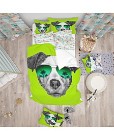 Designart 'Jack Russell In Green Glasses' Tropical Duvet Cover Set - Twin