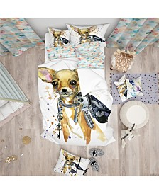 Designart 'Brown Toy Terrier Dog Watercolor' Modern and Contemporary Duvet Cover Set - Queen