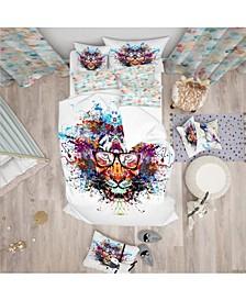 Designart 'Colorful Tiger In Glasses' Modern Kids Duvet Cover Set - Twin