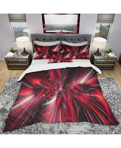 Design Art Designart 'Red Implosion' Modern and Contemporary Duvet Cover Set - Queen