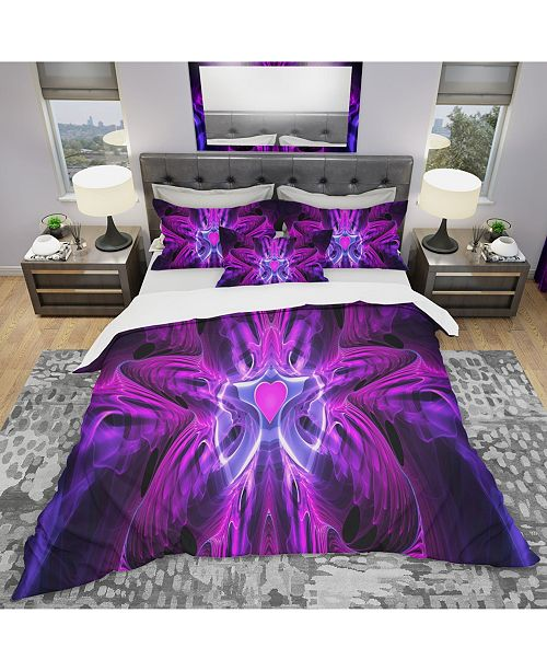Design Art Designart 'Heart At The Center Purple Abstract' Modern and Contemporary Duvet Cover Set - Twin
