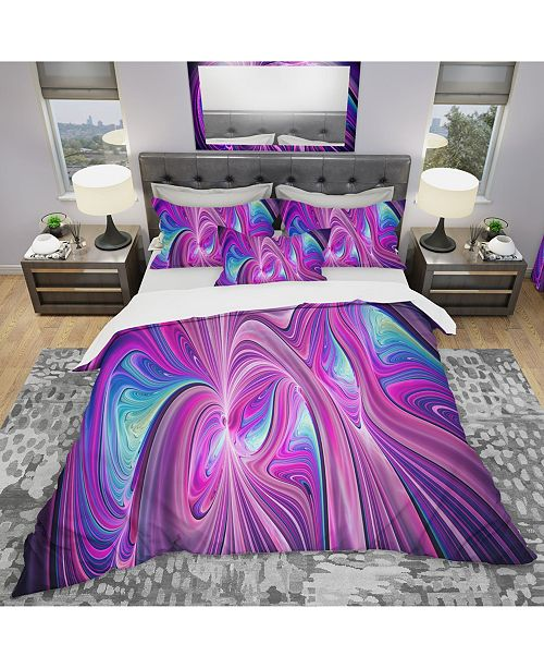 Design Art Designart 'Pink And Blue Wonder' Modern and Contemporary Duvet Cover Set - King