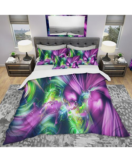 Design Art Designart 'Green And Purple Shine' Modern and Contemporary Duvet Cover Set - Twin