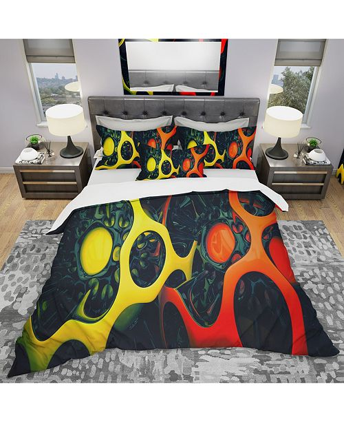 Design Art Designart 'Orange And Yellow Geo Art' Modern and Contemporary Duvet Cover Set - Queen