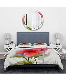 Designart 'Watercolor Painting Red Hibiscus Flower' Traditional Duvet Cover Set - Twin