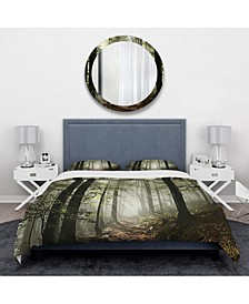 Designart 'Light In Dense Fall Forest With Fog' Traditional Duvet Cover Set - Queen