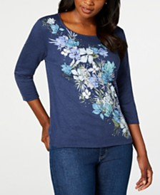 Karen Scott Studded Floral-Print Top, Created for Macy's