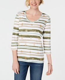 Karen Scott Striped V-Neck Top, Created for Macy's