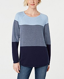 Petite Cotton Colorblocked Sweater, Created for Macy's
