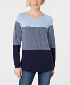 Karen Scott Textured Cotton Colorblock Pullover Sweater, Created for Macy's