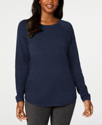 Petite Cotton Ribbed Sweater, Created for Macy's